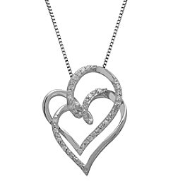 0.16 ct. t.w. Diamond Double Heart Pendant Necklace in Sterling Silver
