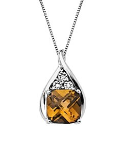 Citrine Diamond Pendant Necklace in Sterling Silver