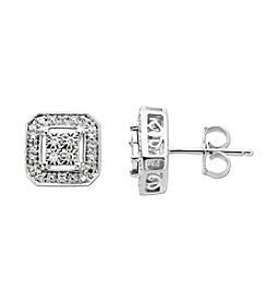 0.10 ct. t.w. Square Diamond Earrings in Sterling Silver