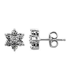 0.10 ct. t.w. Diamond Star Shaped Earrings in Sterling Silver