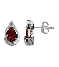Garnet Pear Shaped Earrings in Sterling Silver