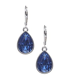 Nine West® Silvertone Leverback Teardrop Earrings with Bright Blue Stone