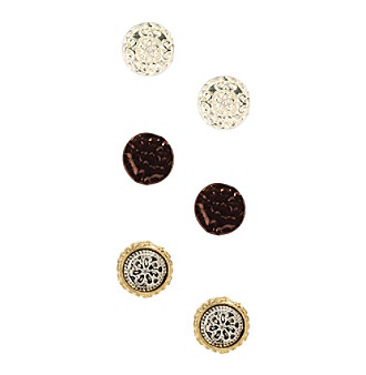 Nine West Vintage America Collection® Tri-Tone Set of Three Button Earrings