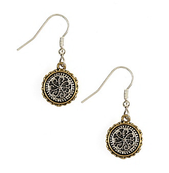 Nine West Vintage America Collection® Two Tone Small Drop Fishhook Earrings plus size,  plus size fashion plus size appare