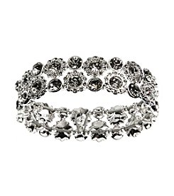 Nine West® Silvertone Multi-Row Stretch Bracelet with Clear Stones