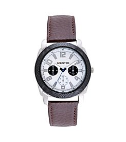 Unlisted by Kenneth Cole® Men's Casual Silvertone Watch with Brown Strap