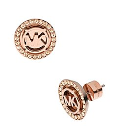 Michael Kors® Rose Goldtone MK Stud Earrings with Goldtone Quartz Pave