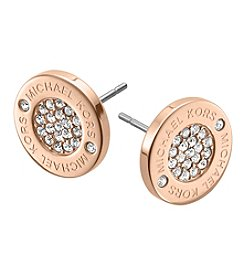 Michael Kors® Rose Goldtone Logo with Clear Pave Center Stud Earrings