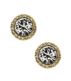 Givenchy® Goldtone Pavé Button Stud Earrings