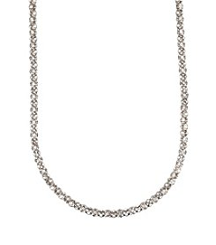 Anne Klein® Long Silvertone Pave Necklace