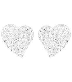Swarovski® Silvertone/Rhodium Clear Crystal Alana Pierced Earrings