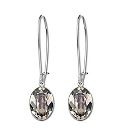 Swarovski® Silvertone/Rhodium Greige Crystal Puzzle Pierced Earrings