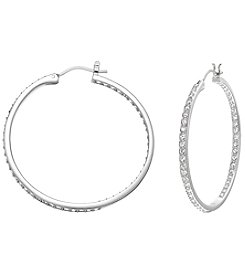 Swarovski® Silvertone/Rhodium Clear Crystal Somerset Medium Hoop Pierced Earrings