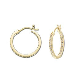 Swarovski® 24K Gold Plated Clear Crystal Somerset Medium Hoop Pierced Earrings