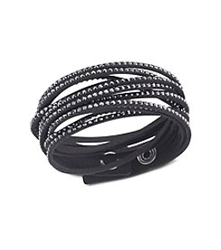 Swarovski® Black/Microfiber Jet Hematite Crystals Slake Bracelet
