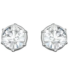 Swarovski® Silvertone/Rhodium Clear Crystal Typical Pierced Earrings