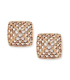 Swarovski® 24K Rose Gold Plated Clear Crystal Tactic Pierced Earrings