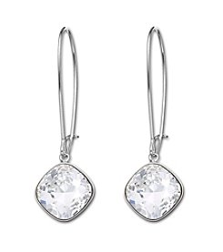 Swarovski® Silvertone/Rhodium Clear Crystal Thankful Clear Pierced Earrings