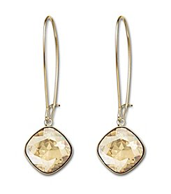 Swarovski® Gold Tone/24K Gold Plated Crystal Golden Shadow Thankful Clear Pierced Earrings