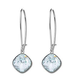 Swarovski® Silvertone/Rhodium Light Azore Crystal Thankful Clear Pierced Earrings