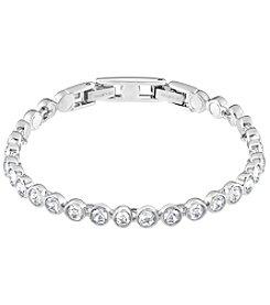 Swarovski® Silvertone/Rhodium Clear Crystal Tennis Bracelet
