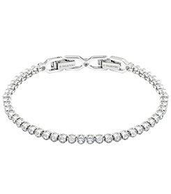 Swarovski® Silvertone/Rhodium Clear Crystal Emily Small Tennis Bracelet
