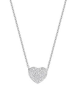 Swarovski® Silvertone/Rhodium Clear Crystal Heart Pendant
