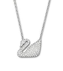 Swarovski® Silvertone/Rhodium Clear Crystal Swan Necklace