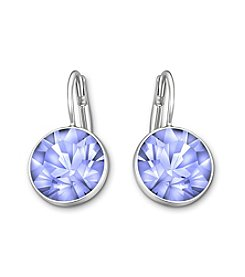 Swarovski® Silvertone/Rhodium Crystal Bella Mini Light Sapphire Pierced Earrings