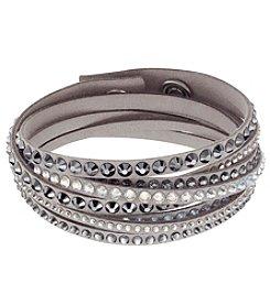 Swarovski® Grey/Alcantara® Fabric Dark Crystal Slake Deluxe Light Bracelet