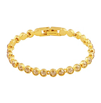 Swarovski® 24K Gold Plated Crystal Golden Shadow Tennis Bracelet