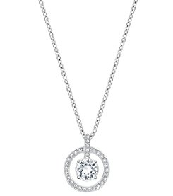 Swarovski® Silvertone/Rhodium Clear Crystal Lavender Pendant