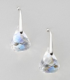 Swarovski® Silvertone/Rhodium Crystal Lunar Moonlight Pierced Earrings