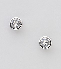 Swarovski® Silvertone/Rhodium Clear Crystal Harley Pierced Earrings