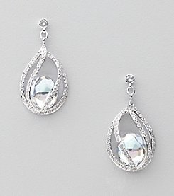Swarovski® Silvertone/Rhodium Moonlight and Clear Crystals Megan Pierced Earrings