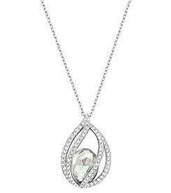 Swarovski® Silvertone/Rhodium Moonlight and Clear Crystals Megan Pendant
