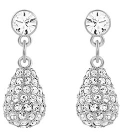 Swarovski® Silvertone/Rhodium Clear Crystal Heloise Pierced Earrings