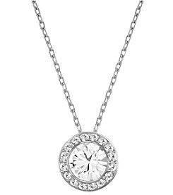 Swarovski® Silvertone/Rhodium Clear Crystal Angelic Pendant