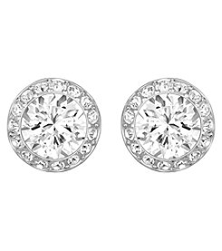 Swarovski® Silvertone/Rhodium Clear Crystal Angelic Pierced Earrings