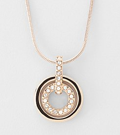 Swarovski® 24K Rose Goldtone Plated Clear Crystal Circle Pendant
