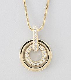 Swarovski® 24K Gold Plated Clear Crystal Circle Pendant