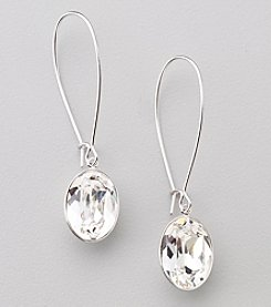 Swarovski® Silvertone/Rhodium Clear Crystal Puzzle Pierced Earrings