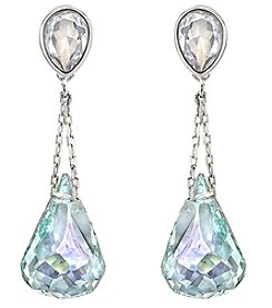 Swarovski® Silvertone/Rhodium Light Azore and Iridescent Crystals Lunar Moonlight Pierced Earrings