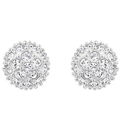 Swarovski® Silvertone/Rhodium Clear Crystal Emma Pierced Earrings