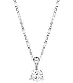 Swarovski® Silvertone/Rhodium Clear Crystal Solitaire Pendant