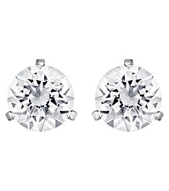 Swarovski® Silvertone/Rhodium Clear Crystal Solitaire Pierced Earrings