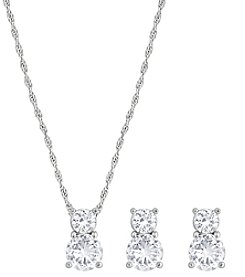 Swarovski® Silvertone/Rhodium Clear Crystal Brilliance Pendant & Earrings Set