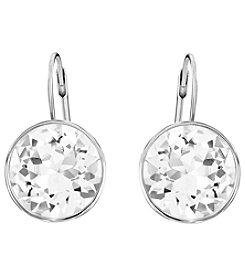 Swarovski® Silvertone/Rhodium Bella Clear Crystal Pierced Earrings