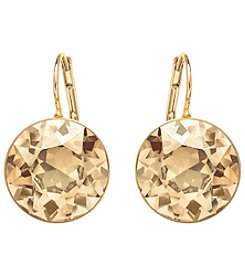 Swarovski® 24K Gold Plated Crystal Bella Golden Shadow Pierced Earrings