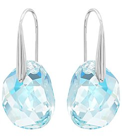 Swarovski® Silvertone/Rhodium Aurora Borealis Crystal Galet Light Azore Blue Pierced Earrings